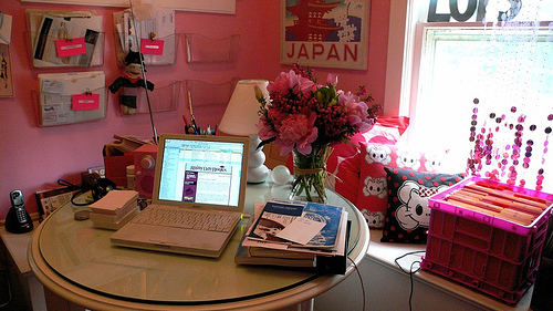 Flowers are always a nice touch for the home office