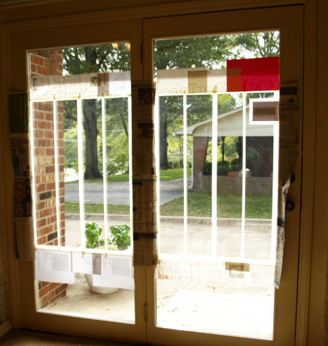 Frosting French doors with spray paint